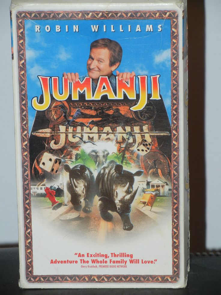 Jumanji on VHS Movie Starring Robin Williams Jonathan Hyde Bradley Pierce Kirsten Dunst Bonnie Hunt David Alan Grier  Action Adventure by GailsPopCycle on Etsy