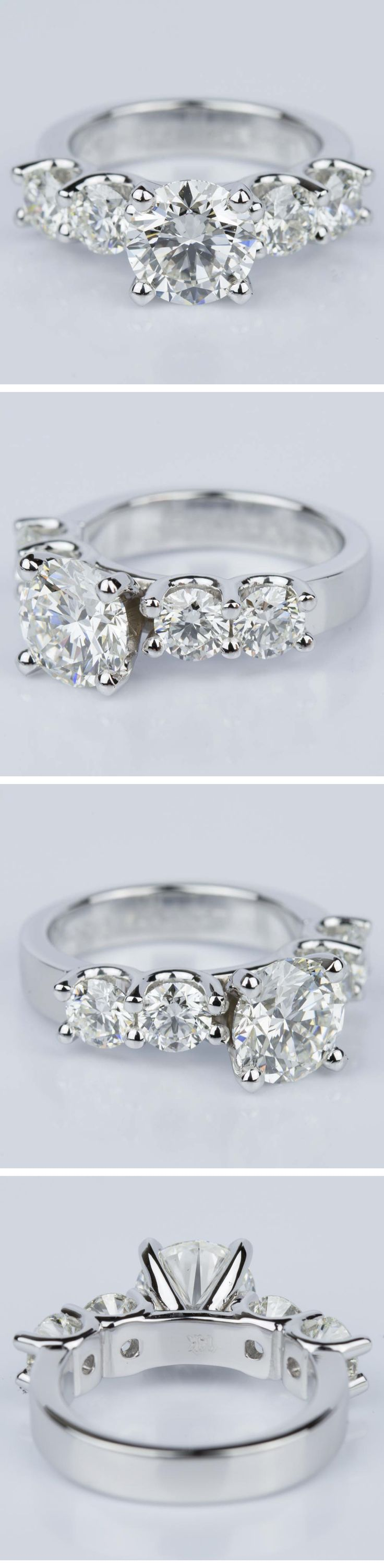 A beautiful Custom Five Diamond Engagement Ring in White Gold of to one lucky girl!