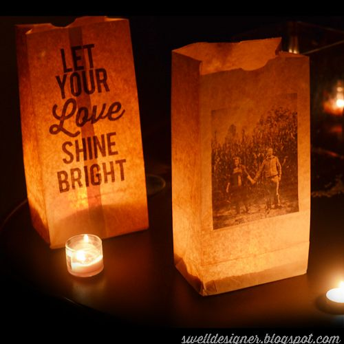 Print old photos on paper bags and use them as luminaries at a family reunion. White bakery bags might allow clearer pictures, but brown replicates the feel of old sepia photos.