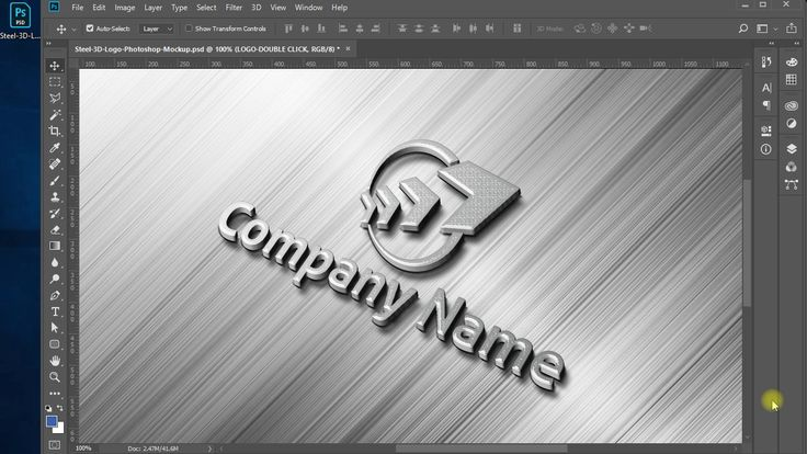3d Steel Logo Mockup Logo Mockup Photoshop Tutorial Logo Design