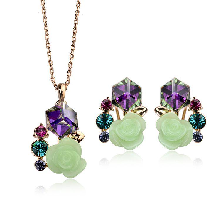 Новинка роза комплект ювелирных изделий из австрийские кристаллические ювелирные комплект с 18 К позолоченные
