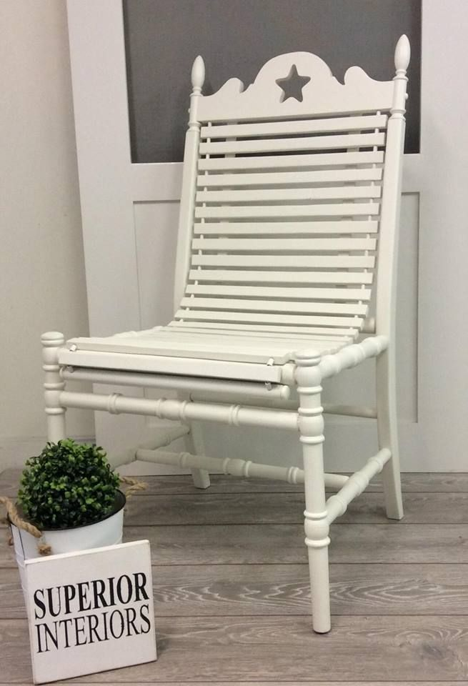 #superiormixologistcontest Farmhouse style chair chalk painted using Superior Paint Co. Little White and Ivory