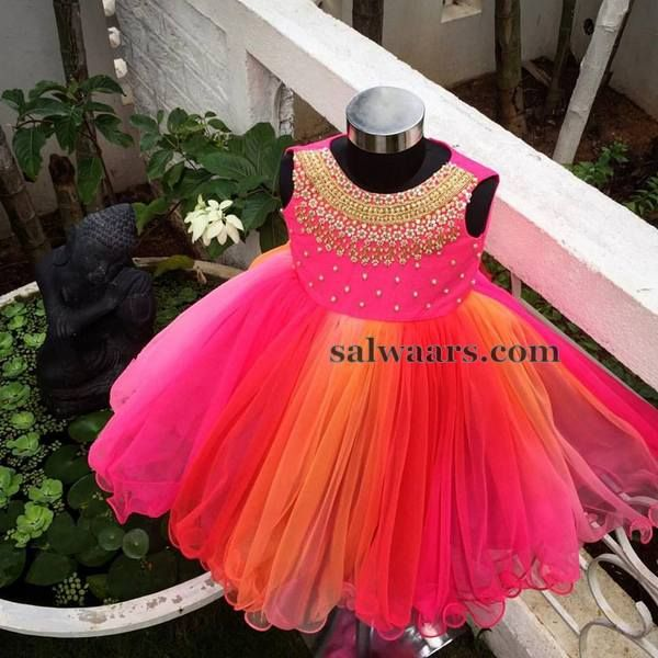 Dual Shade Heavy Frills Frock - Indian Dresses
