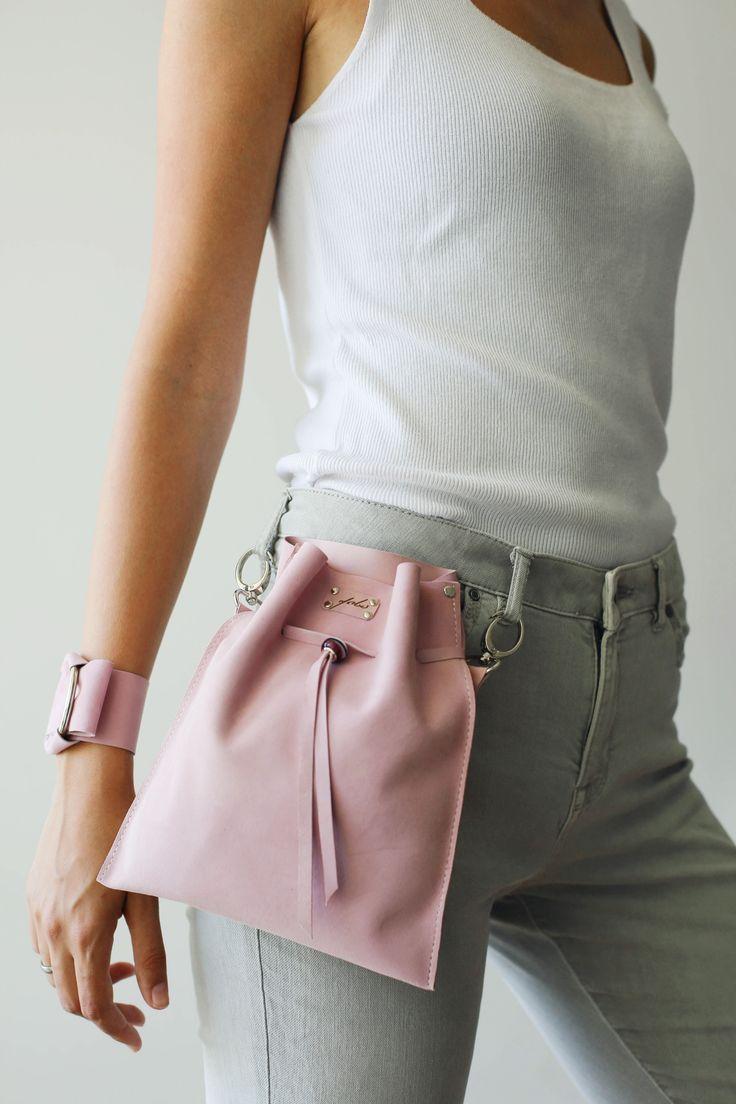 Pastell rosa Tasche, Taschen für Frauen, Leder Geldbörse, kleine Ledertasche