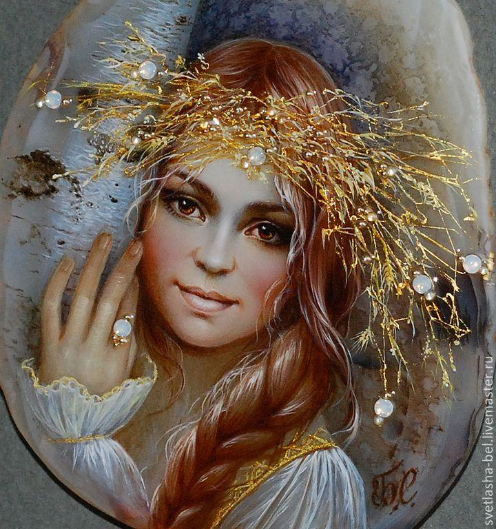 Купить Дара - лаковая миниатюра, берегиня, живопись маслом, живопись на камне, авторская ручная работа
