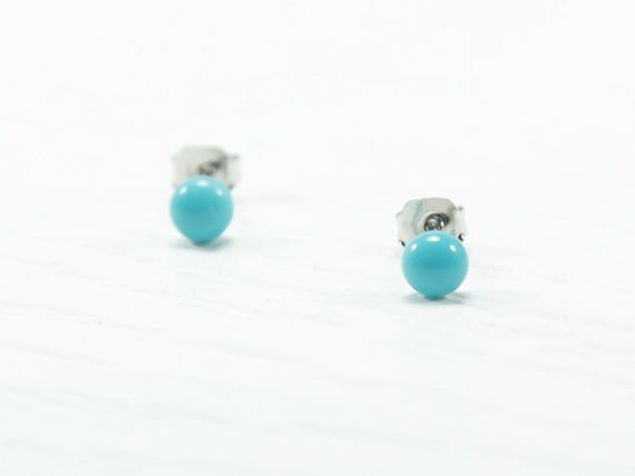 Turquoise Stud Earrings 4mm  Tiny Stud Earrings  by biesge on Etsy, http://www.biesge.etsy.com/ #earrings #studearrings #studs #earstuds #brightearrings #brightstuds #dotearrings #dotstuds #tinyearrings #tinystuds #jewelry #fashion #accessories