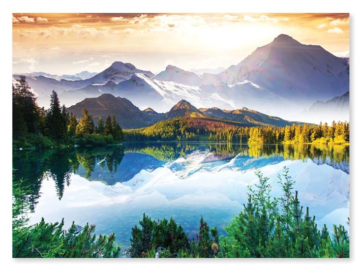 """Mountain Lake is a 1500 piece from Melissa & Doug. Puzzle measures 33"""" x 24"""" when complete."""