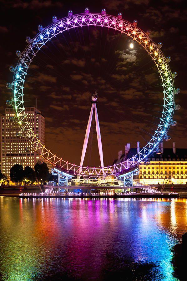 Big Wheel Aka London Eye Lit Up With Roda gigante, Roda