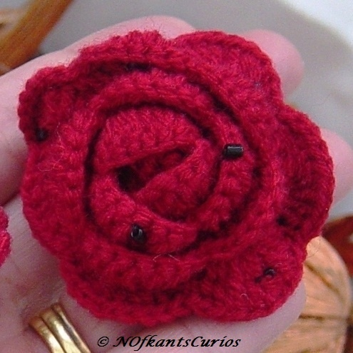 Ruby Red Rose Crocheted Hair Accessory, with seed bead detail. £3.50