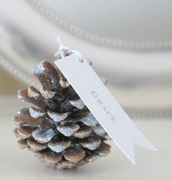 What if we did pinecone ornaments with a little tag or something as a favor?