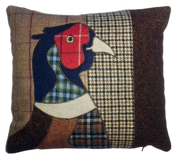 tweed mixed fabric animal applique cushion pheasant bird country natural wool