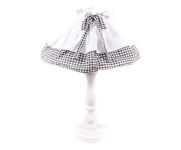 Lampada da tavolo in legno e tessuto bianco/grigio - x45x26 cm