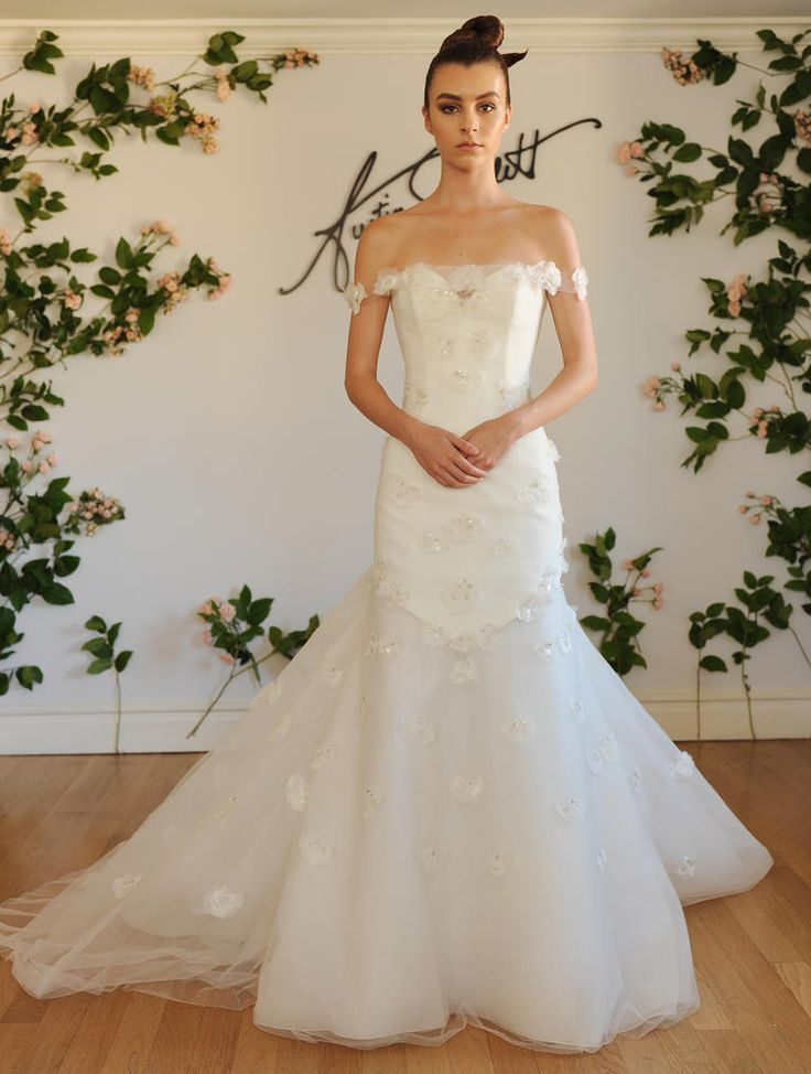 Austin Scarlett Fall 2016 off-the-shoulder floral-adorned trumpet wedding dress with sweetheart neckline | https://www.theknot.com/content/austin-scarlett-wedding-dresses-bridal-fashion-week-fall-2016