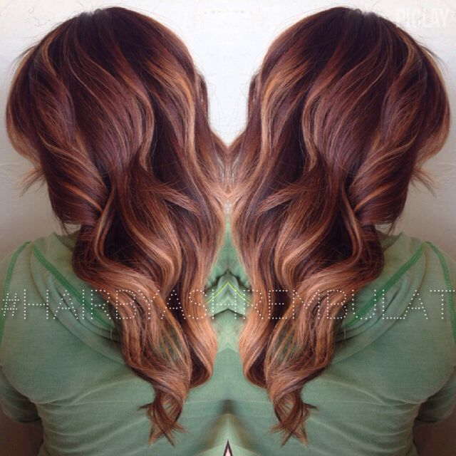An Auburn Base Color With Painted Golden Blonde Balayage