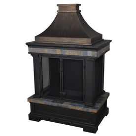 Black and Bronze with Slate Design Composite Outdoor Wood-Burning Fireplace. Perfect for under the porch!
