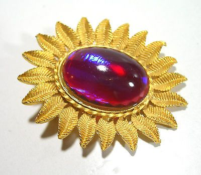 VINTAGE COLOR CHANGE DRAGONS BREATH JELLY OPAL GLASS RED PURPLE BLUE BROOCH PIN