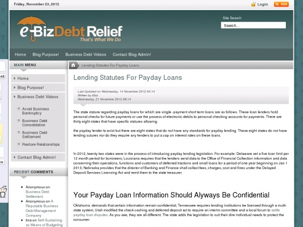 The State Stature Regarding Payday Loans For Which Are Single Payment Short Term Loans Are As Follows These Loan Lenders Hold Payday Loans Payday Debt Relief
