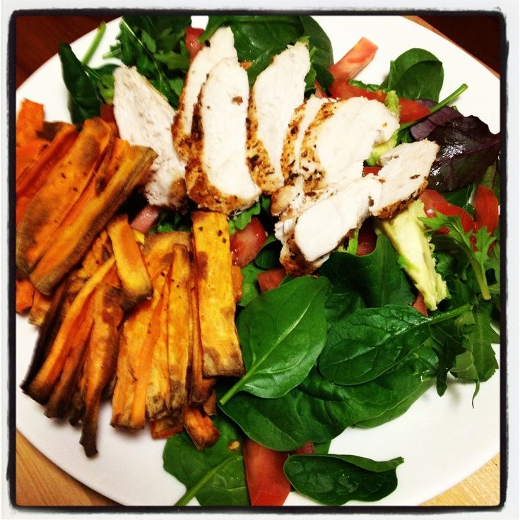 Cajun Chicken with Sweet Potato Wedges & Avocado Salad- A spicy protein packed salad! @hollyfreemantle this looks amazing!