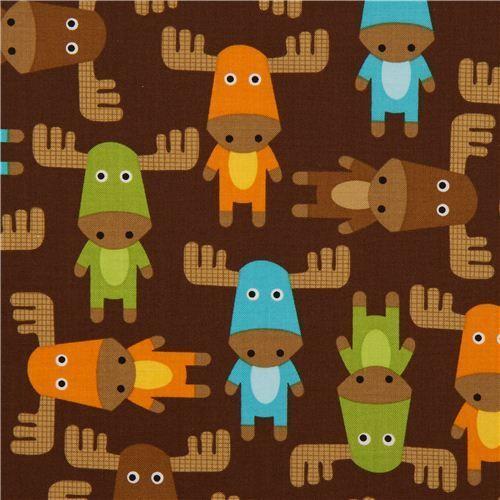 Cute moose fabric cute brown moose fabric by robert for Cute baby fabric