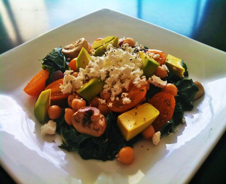 Silver beet & avocado & chick peas & feta salad
