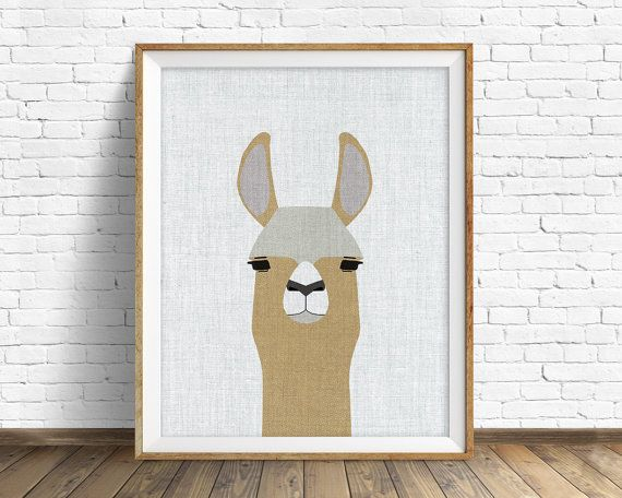 TITLE: Llama  This Llama print has a subtle canvas texture and soft brown tones and is one of our all-new series of prints based on the style and