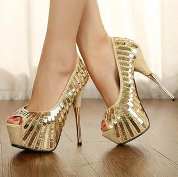 Show off that romantic look using this gorgeous high heel shoes. Features  open toe, thin high heels, slip on design, platform and over all sequines  details.