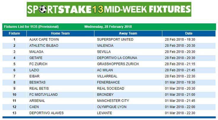 #SportStake13 Midweek Fixtures - 28 February 2018  https://www.playcasino.co.za/sportstake-mid-week-fixtures.html