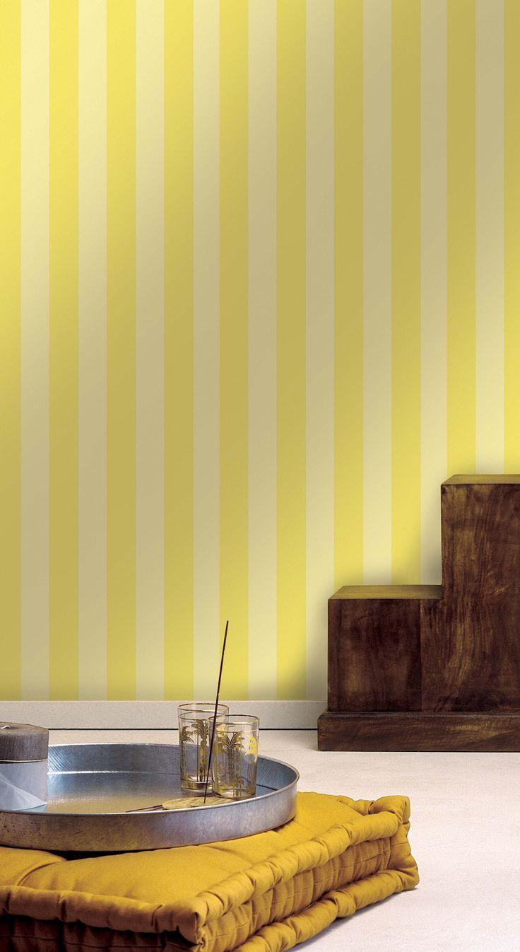 Empapelado - Rayas con amarillo - Papel de parede