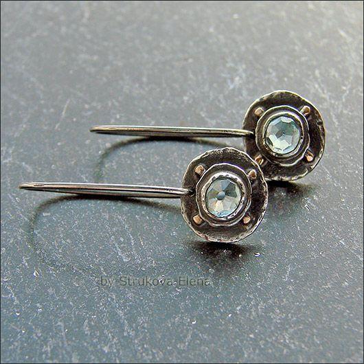 Купить Серьги с цирконами - светло-голубой, серьги, легкие серьги, серебряные серьги, серебряные украшения
