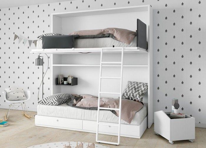 Litera abatible de la marca Antaix con cama Complet con dos cajones. Las cama superior incorpora un quitamiedos abatible que nos da seguridad y cabezal tapizado.