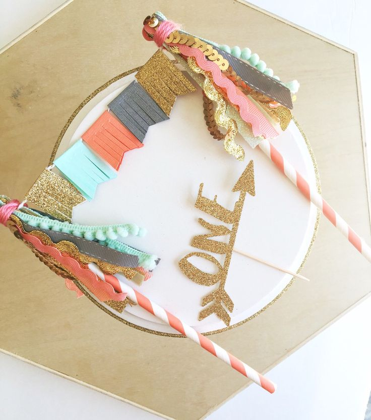 Boho chic tribal pow wow first birthday tassel banner cake topper mint gray gold coral arrow smash cake topper with personalized custom numb by JulesandKenna on Etsy https://www.etsy.com/listing/280988980/boho-chic-tribal-pow-wow-first-birthday