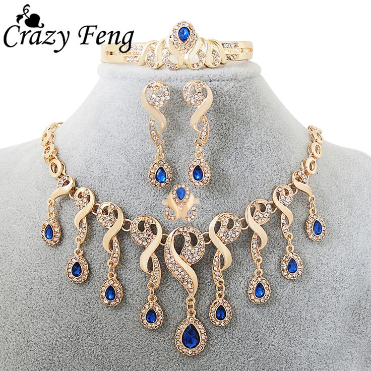 Fashion African Jewelry Statement Necklace Set 4 Pcs  Gold Plated Water Drop  Wedding/Bridal Jewelry Sets For Women