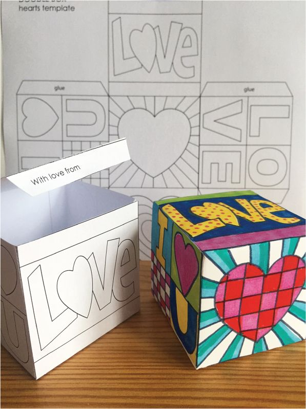 This Pop Art Hearts Doodle Gift Box is an ideal creative project for Valentine's Day.  Students get to take home a beautiful finished gift box with some special surprise messages inside!   This activity pack involves: 1. Reading some interesting facts about the Pop Art Movement 2. Decorating a blank box template with Pop Art inspired hearts and shapes, or if you prefer, coloring in the Pop Art template provided 3. Cutting, folding and assembling the lidded box 4. Then choose from a variety…
