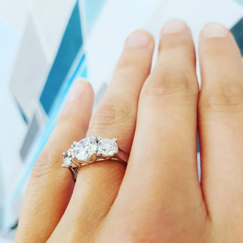 Good things come in threes 💎💎💎 http://www.villagegoldsmiths.com/three-stone-diamond-ring