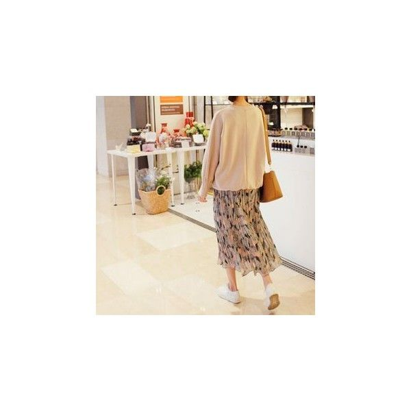 Pleated Pattern Long Skirt ($44) ❤ liked on Polyvore featuring skirts, women, maxi skirt, long print skirt, pleated skirt, brown pleated skirt and brown maxi skirt
