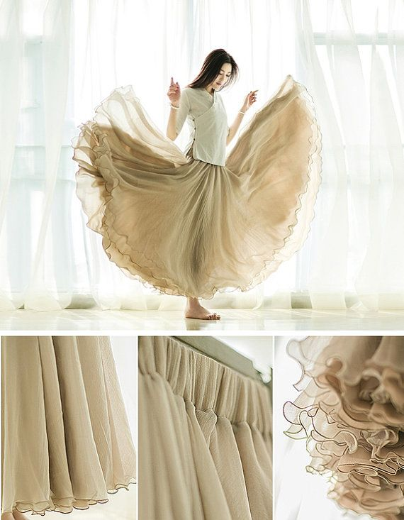 Maxi Chiffon Skirt in Khaki, red, whte, pink, olive, white,  Long Skirt, Elastic Waist tulle tutu Princess Skirt Wedding Skirt in Nude Color