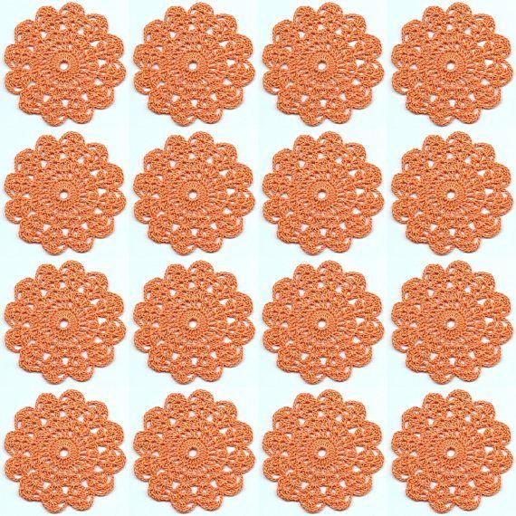 Set Of 16 Crocheted Doilies Crochet Medallions Assortment Mini