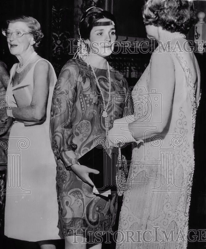 June 27, 1966: Janet Auchincloss attends a Newport party at the former Berwind  Estate.  The dance was held in appreciation of a gift of 1920's clothes by Mrs. Cornelius Vanderbilt to the Newport Preservation Society.