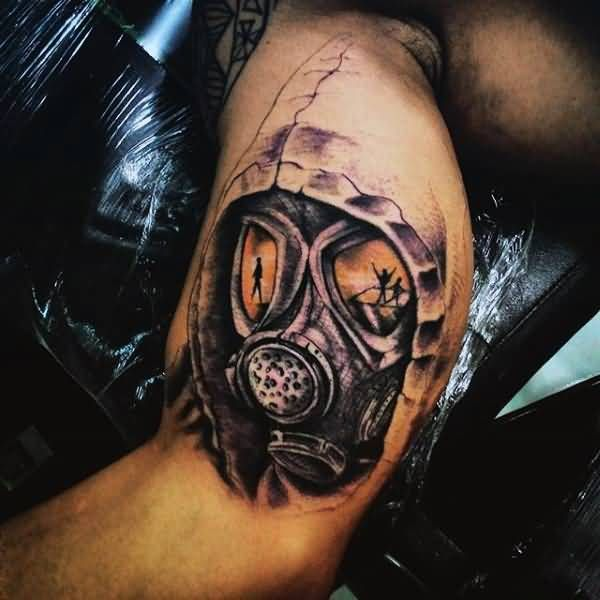 Gas Mask Tattoo On Inner Bicep