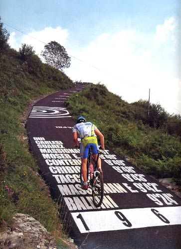"""The Wall of Sormano, in the province of Como, Italy. Is  a road with such a legendary slope (experienced as virtually 'vertical' by cyclists) that it has been dubbed """"Muro of Sormano"""". Inserted by Vincenzo Torriani in the Giro di Lombardia in the 1960 – 1962 – in order to make the race, which he perceived as too 'easy', more challenging – the slope has since then become legendary for its toughness, forcing many champions to get off their bikes and continue on foot! #roadcycling"""