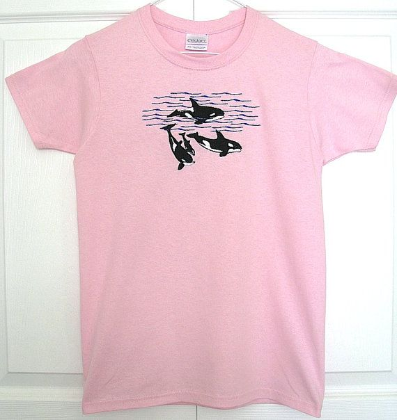 Ladies Custom Embroidered Orca Whale Pod T-Shirt, Whale Shirt, Embroidered Orca Whale Shirt