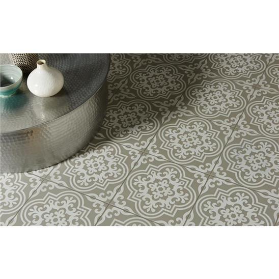 Vogue White on Grey Porcelain Odyssey Tile