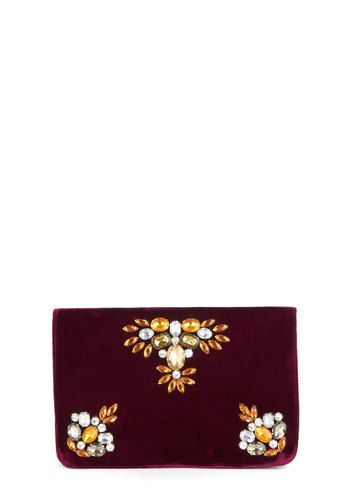 Elegance in Velvet Clutch - Red, Solid, Rhinestones, Cocktail, Holiday Party, Vintage Inspired, 20s, Good, Multi