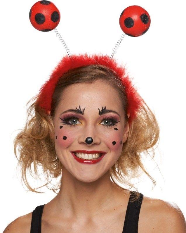 Serre tête coccinelle adulte, serre tête coccinelle avec antennes de coccinelle rouge à pois, serre tête coccinelle adulte et enfant carnaval, fêtes déguisées.