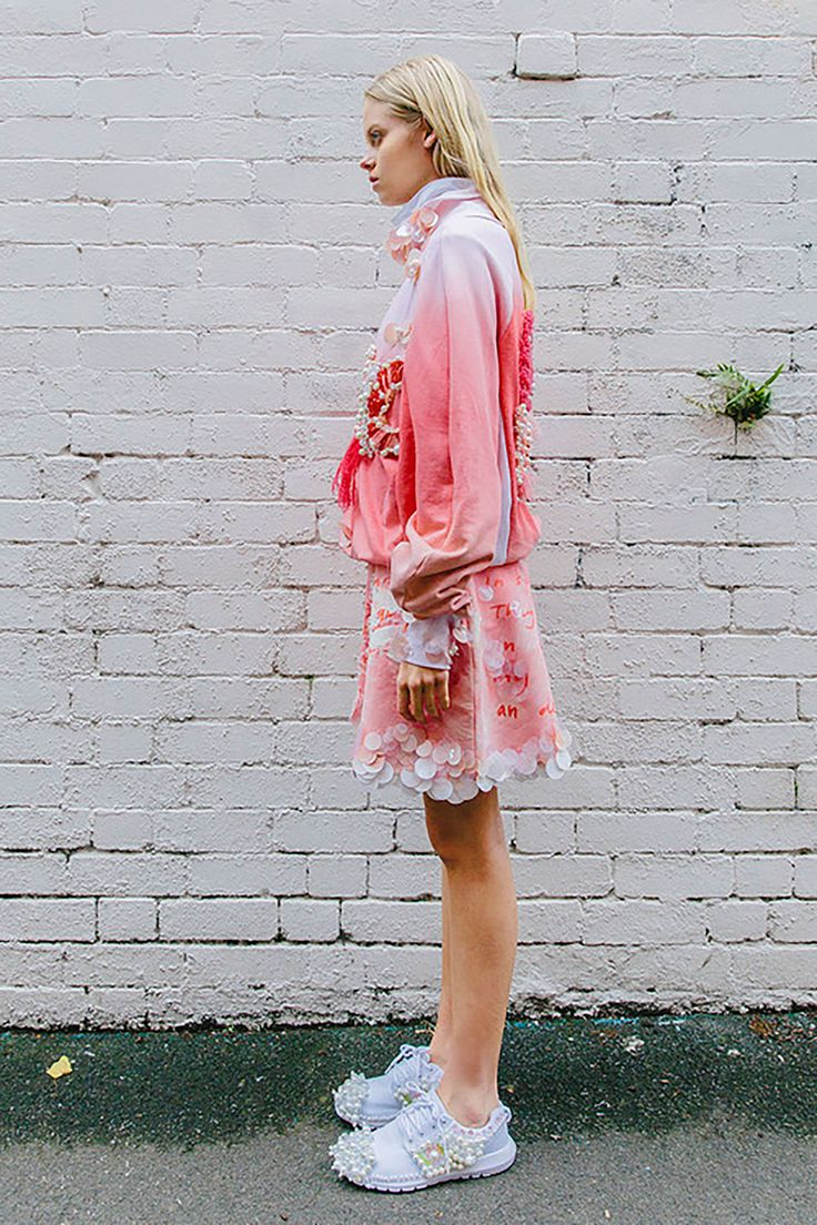 Hannah Kim Makes Candy-Coloured Wearable Art, is the New Designer to Watch #hannahkim #fashiondesign #fashiondesignstudent #sequins #DIY #pastels #pink #allpinkeverything #sequinsneakers #australianfashion #sydneyfashion #hautecouture #ss16 #w17