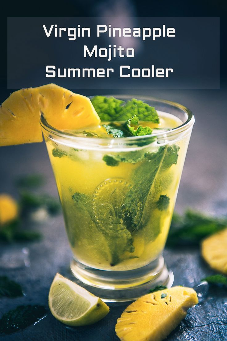 Virgin Pineapple Mojito is a refreshing drink made using mint, lime, fresh pineapple juice and club soda and is perfect as summer cooler. #Drink #Beverage #NoAlcohol #NonAlcoholic #Pineapple #Summer
