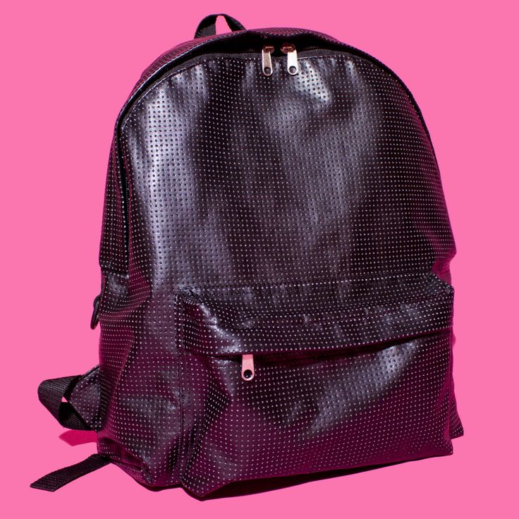 Black Perforated Faux Leather Book Bag