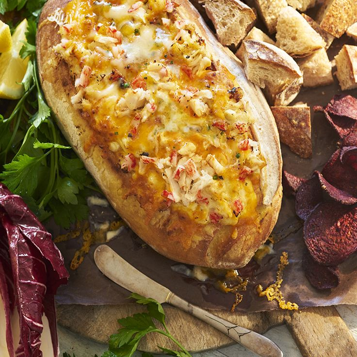 Cheesy Crab Bread with Artichoke & Asiago Dip