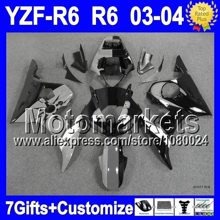 Серый черный 7 подарки + тела для YAMAHA YZF-R6 03-04 YZF R6 YZF R 6 2003 2004 серый 46# blk K9481 YZF600 R6 YZFR6 03 04 обтекатель комплект
