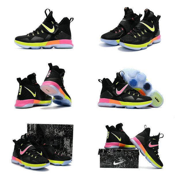new product 62a26 ca8a4 2017 Lebron James Shoes LeBron 14 XIV Black Volt Laser Orange Pink Gold